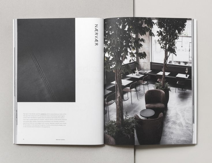 One of the many global cases featuring interior design crafted with Sorensen Leather. Page from our Brand Book 2nd Edition designed and photographed by Norm Architects.Text by Julie Ralphs.