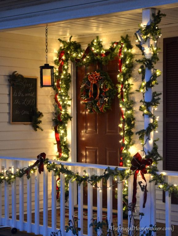 40+ Festive Outdoor Christmas Decorations | Front porches, Porch and Candle  lanterns