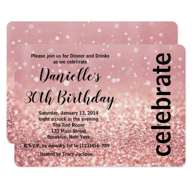 Pink Bokeh /& Stars 30th Birthday Party Invitations