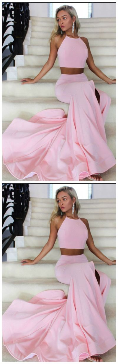 Pink Two Pieces Simple Slim Long Mermaid Prom Dresses, High Neck Prom Dress, Senior Prom Dress, Sexy Slit Prom Dress, Prom Party Dress, Prom Dress