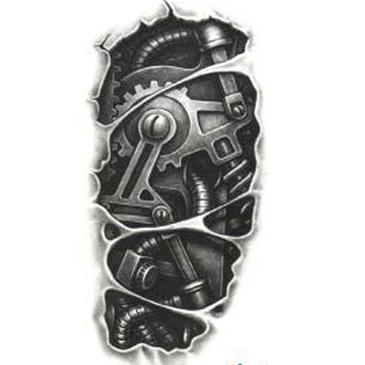 一時的な入れ墨3dタトゥー袖黒メカニカルアーム偽転送タトゥーステッカー熱いセクシークール男性スプレー防水デザイン