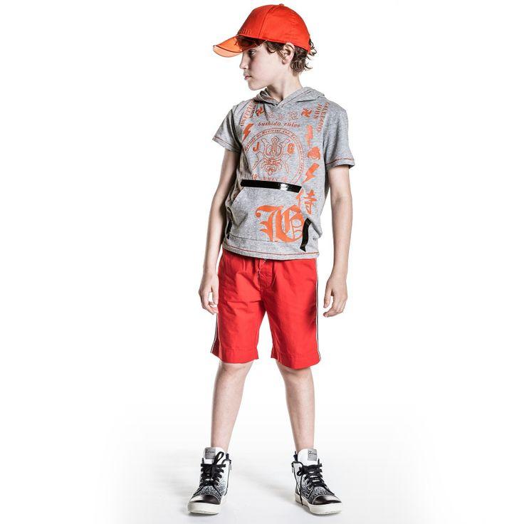 John Galliano - Boys Grey Cotton Jersey Hooded T-Shirt | Childrensalon