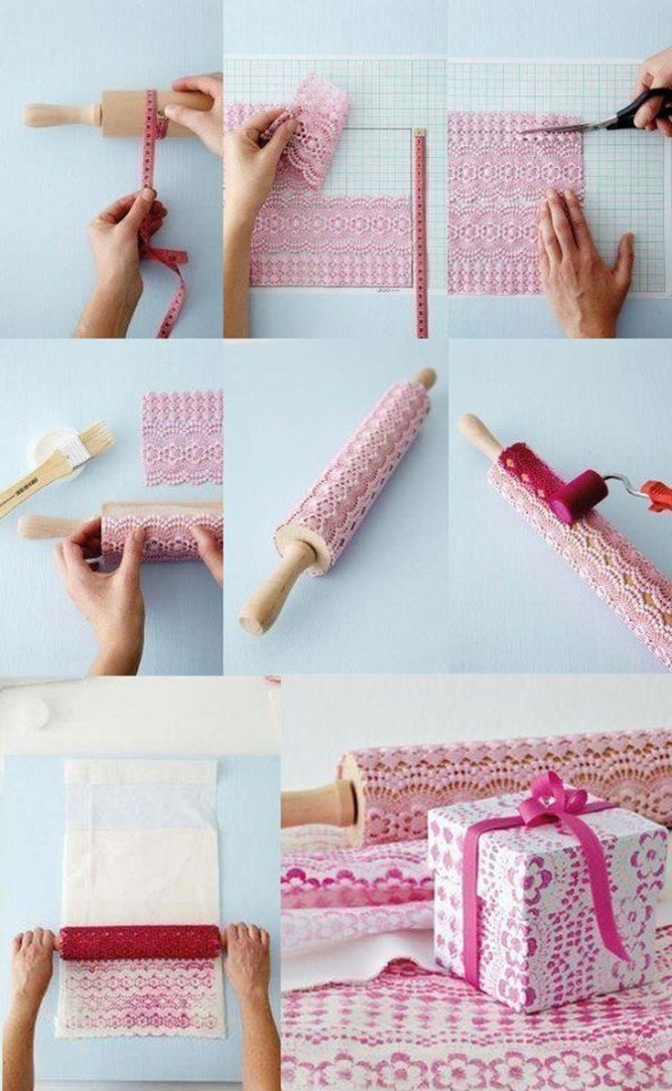 DIY lacy wrapping paper - clever that is!!