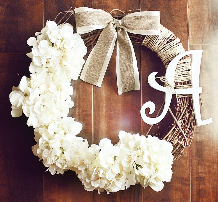 Monogrammed White Hydrangea Grapevine Wreath with a by ChicWreath, $52.00 Make this and put it on the church doors?