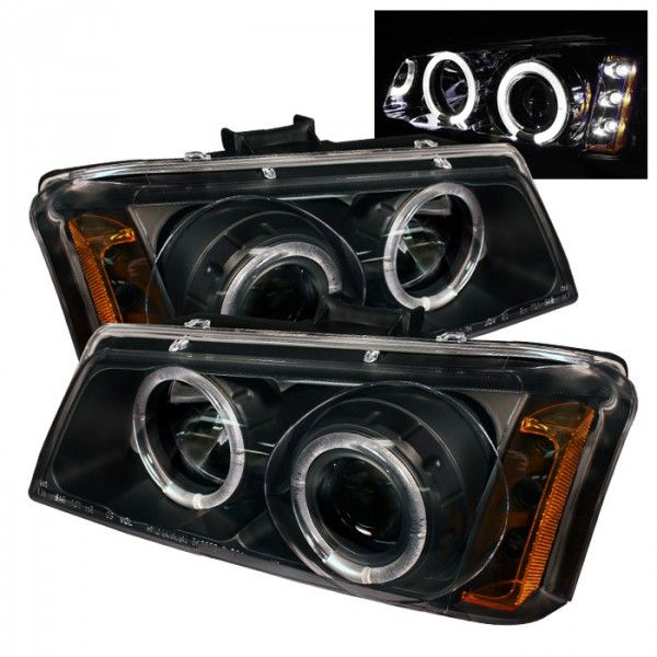 Spyder Auto 444-CS03-AM-BK | 2004 Chevy Silverado Black Halo LED Projector Headlights for SUV/Truck/Crossover