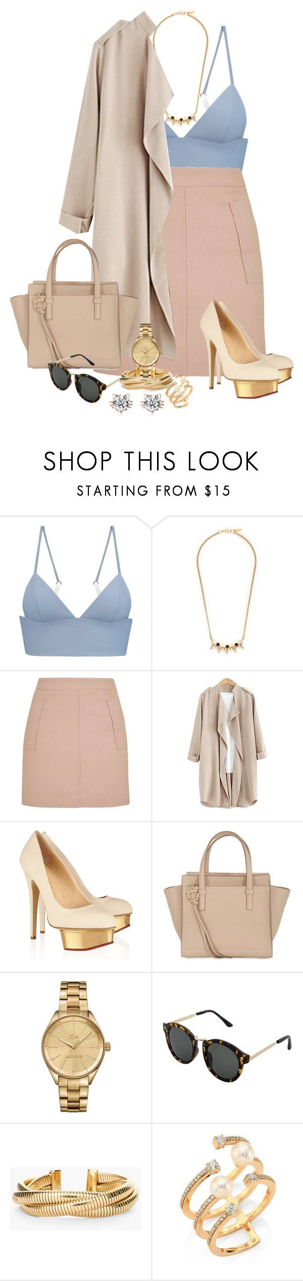 """Untitled #1361"" by ally-624 ❤ liked on Polyvore featuring T By Alexander Wang, Joomi Lim, Topshop, Lela Rose, Salvatore Ferragamo, Lacoste, Chico's and Hueb"