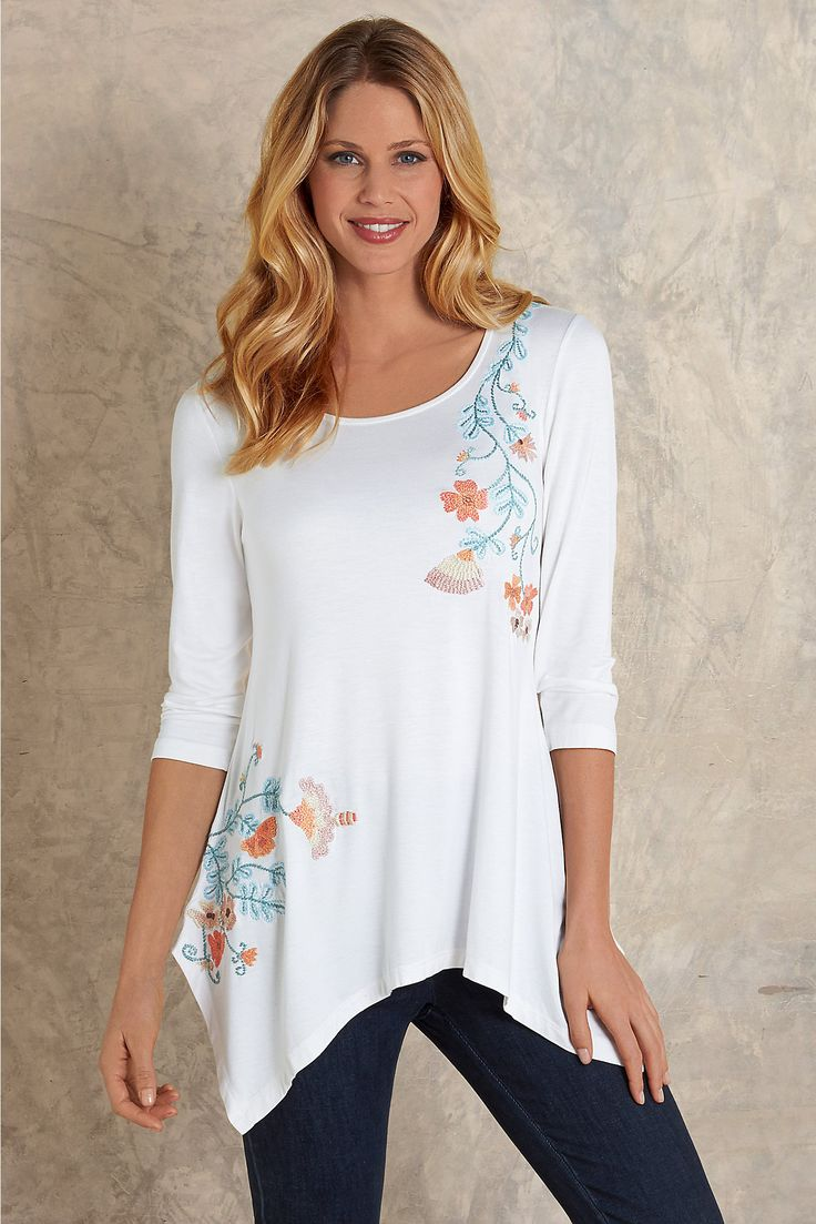 Adriana Top - luxuriously soft white jersey knit top | Soft Surroundings