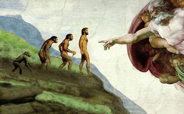 ... Toría evolucionista (Darwin) contraria a la teoría creacionista (religión).