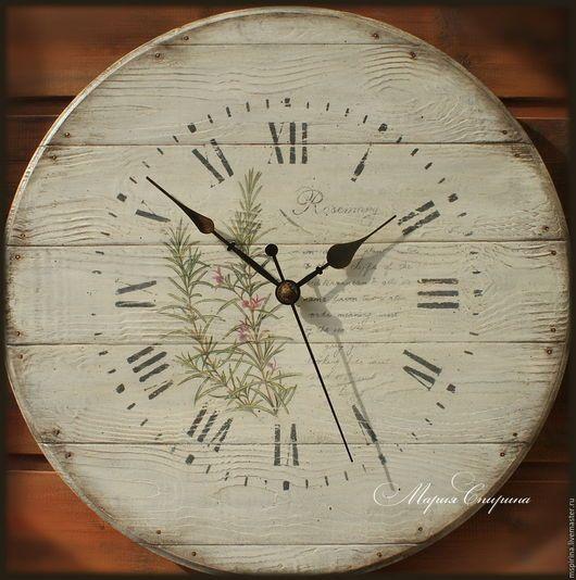часы настенные, часы интерьерные, часы прованс, ручная работа, часы кантри, часы деревянные, загородный дом, средиземноморский стиль, купить часы, часы для кухни, в стиле прованс, розмарин