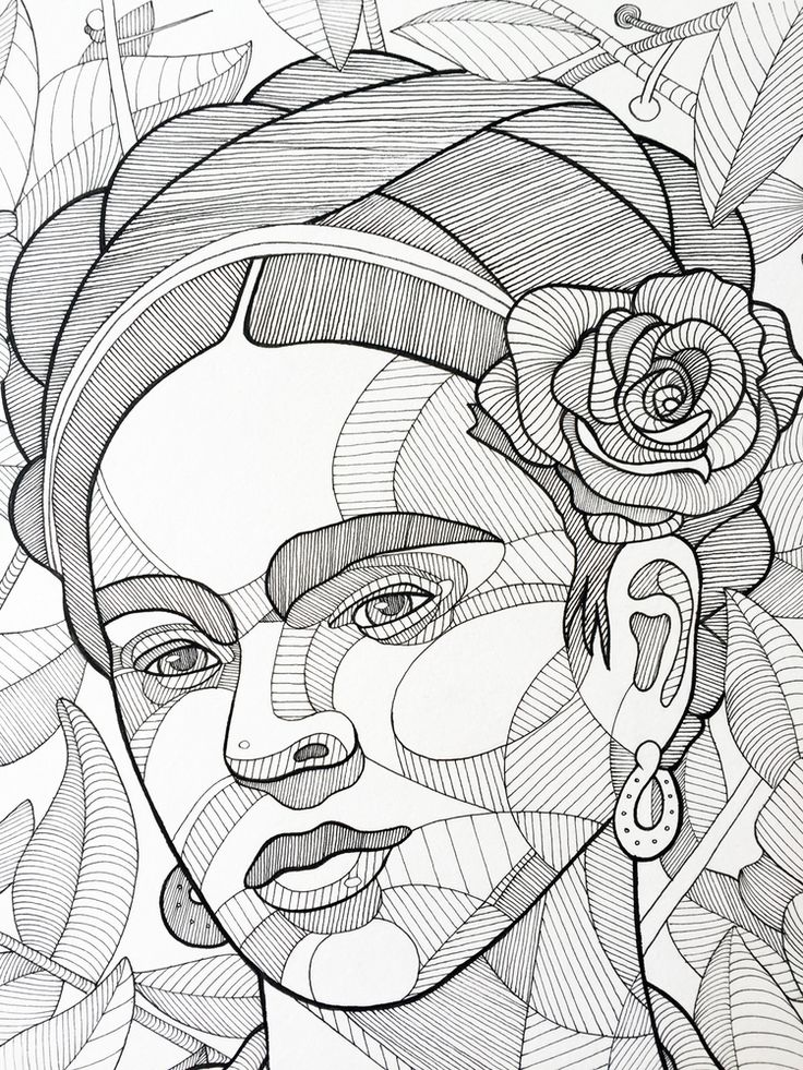 Frida Kahlo, ink on paper, x available for purchase.Shop here… Frida Kahlo, ink on paper, x available for purchase. Coloring Book Art, Colouring Pages, Frida Kahlo Cartoon, Drawing Sketches, Art Drawings, Pop Art, Kahlo Paintings, Frida Art, Doodle Art Journals