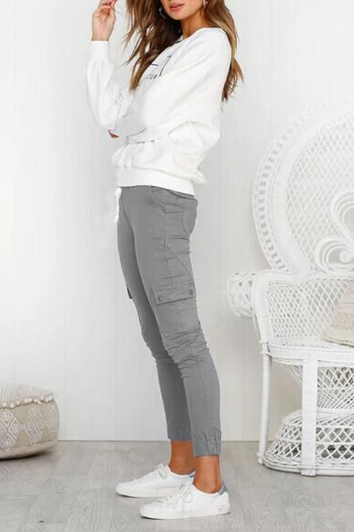 Casual High Waist Drawstring Pockets Solid Pants