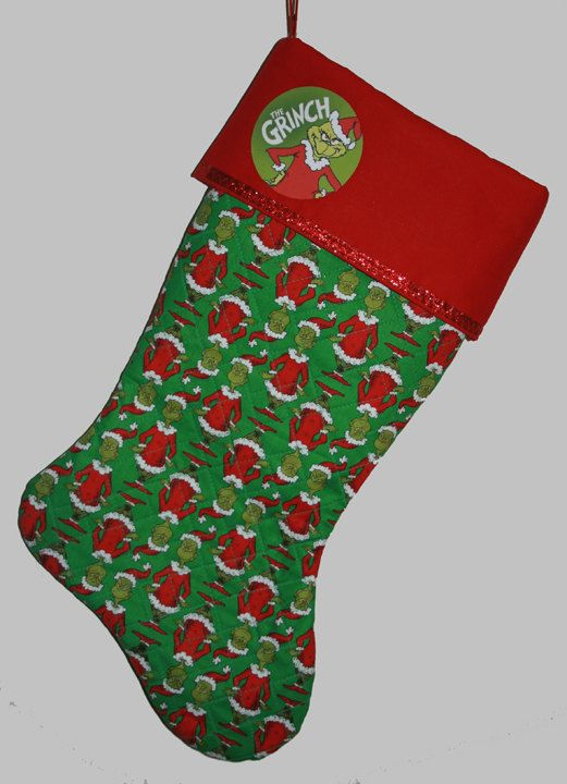 PERSONALIZED Grinch Christmas Stocking Grinch by cjcreativedesigns