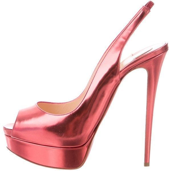 54242ffeb9f8 Pre-owned Christian Louboutin Metallic Slingback Platform Pumps ( 595) ❤  liked on Polyvore featuring shoes