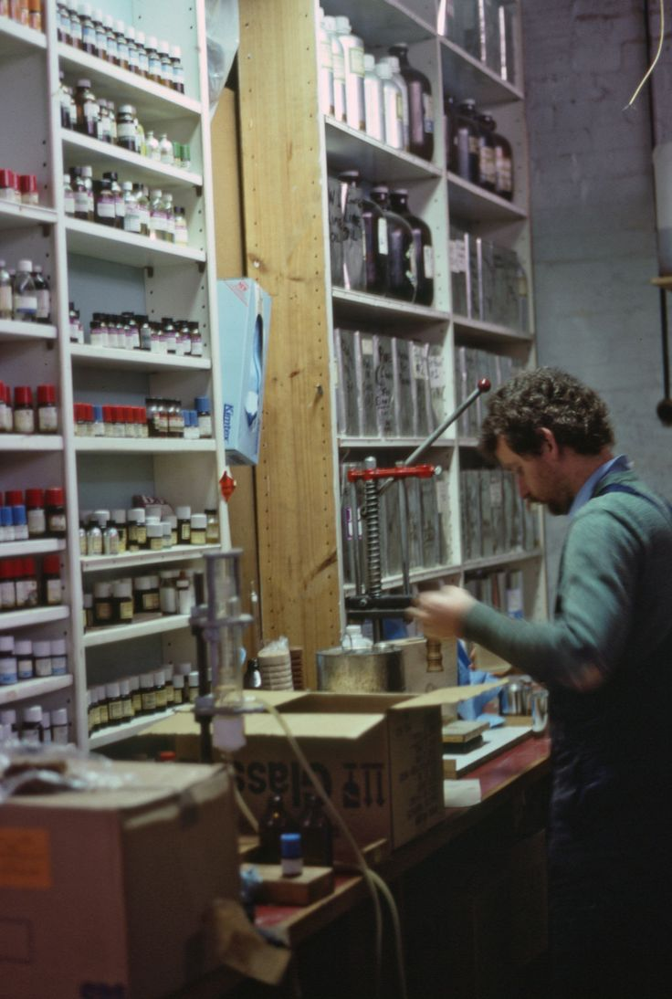 Our fragrance lab – circa 1985.  Here we have Mark, our organic chemist, and also a relation of the Buckley and Phillips clan.  Mark (Maureen Phillips' nephew) has been with the company continuously since the early 80's.  Back then everything was poured, bottled and labelled by hand.
