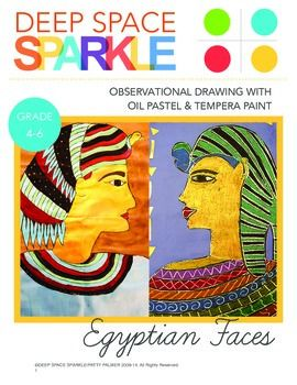 Egyptian art projects are standard curriculum subjects in upper elementary and this Egyptian Faces packet offers two great techniques that all children can master.This 15-page single subject lesson plan features:-TWO options to create an Egyptian portrait with either paint or pastels-Two original Deep Space Sparkle drawing handouts (Egyptian Profile Drawing Aid and Egyptian Faces Drawing Aids)-Student Gallery-Complete multi-photo tutorialThis lesson is best suited for upper elementary ...