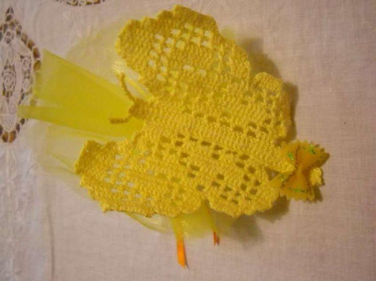 Bomboniere uncinetto - Bomboniere uncinetto farfalla gialla