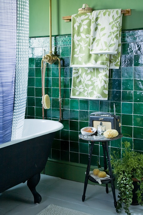 Max Attenborough Photography. Green tiles, bathroom.