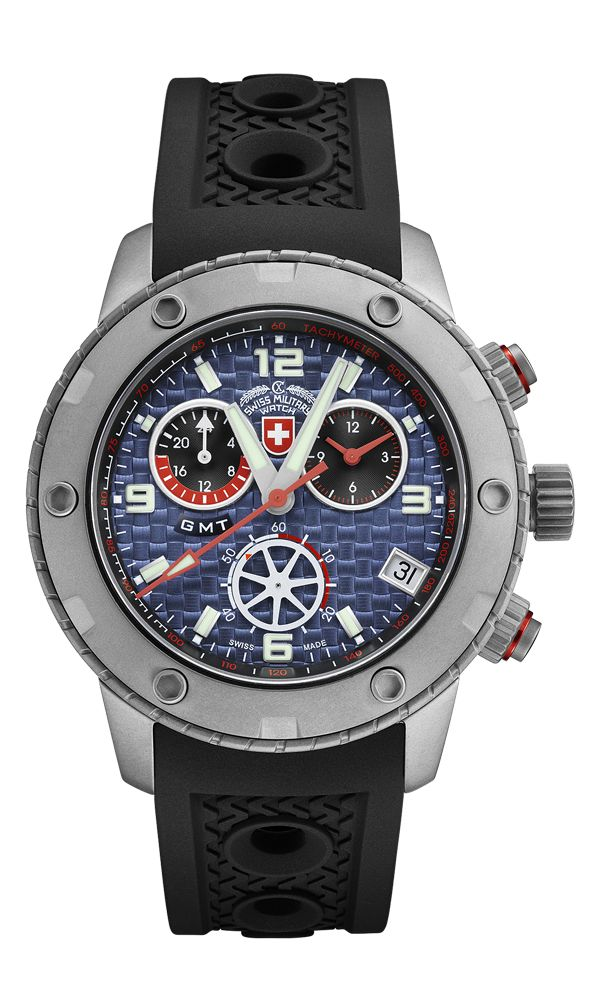 2016 Model, M's Swiss Military Watch GMT chronograph RALLYE GMT, ETA cal. G10.962 Swiss Made quartz mvt., 4 jewels, blue dial, sandblasted stainless steel case, screw-down crown, sapphire crystal, silicone strap (length 225mm, width 22mm, thickness 4mm; pin buckle). Case: diameter 44mm, thickness 13mm, 20atm water resistant. Weight: 118gr. HS Code: 9102.1100.125