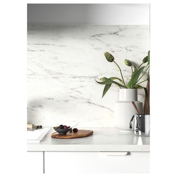 Sibbarp Revetement Mural Sur Mesure Blanc Marbre Stratifie 1 M X1 3 Cm En 2020 Plan De Travail Ikea Parement Mural