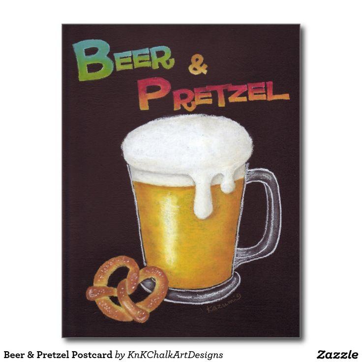 Beer & Pretzel Postcard