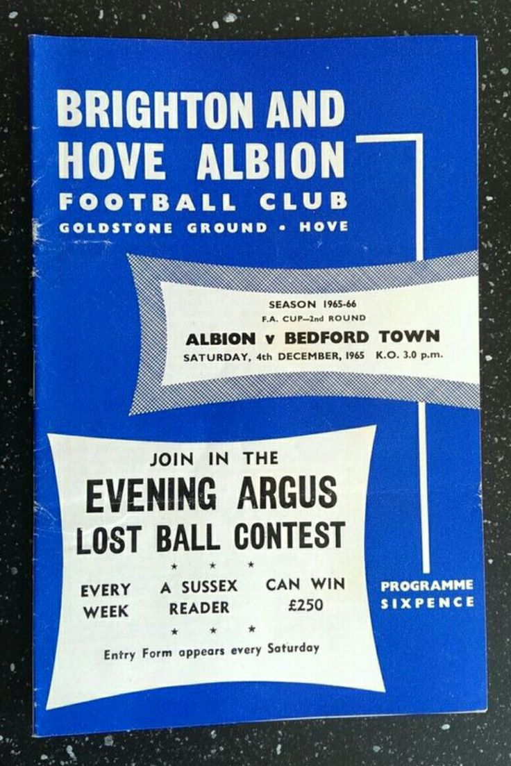 Brighton 1 Bedford Town 1 in Dec 1965 at the Goldstone Ground. The programme cover for the FA Cup 2nd Round tie.