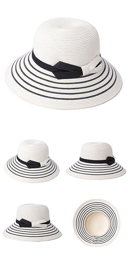 b0164b15ea5 SiggiHat Packable UPF Straw Sunhat Women Summer Beach Wide Brim Fedora  Travel Hat Bowknot