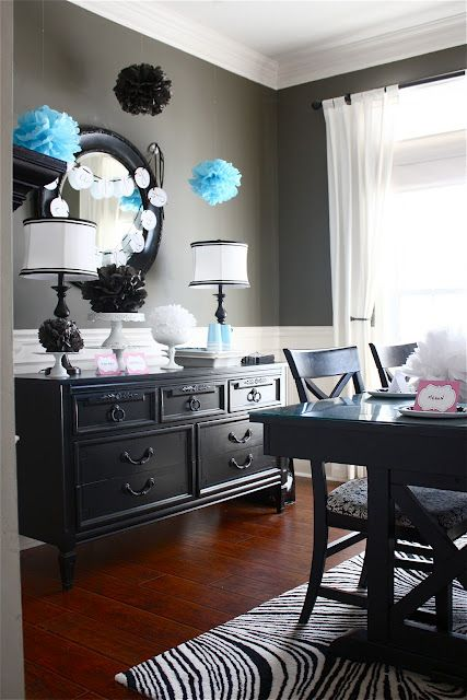 """Gray Dining Room """"Crevecour"""" Martha Stewart. Lose the rug and the hanging things, but keep color of wall and furniture."""