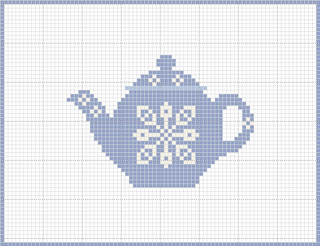 Craft Novice: Simple Cross Stitch Teapot Pattern