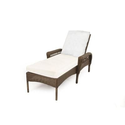 Hampton Bay Spring Haven Grey All Weather Wicker Patio Chaise Lounge With Bare Cushion 55 20352