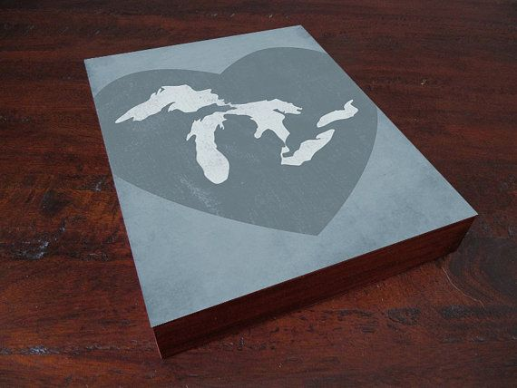The Great Lakes  Wood Block Art Print by LuciusArt on Etsy, $39.00