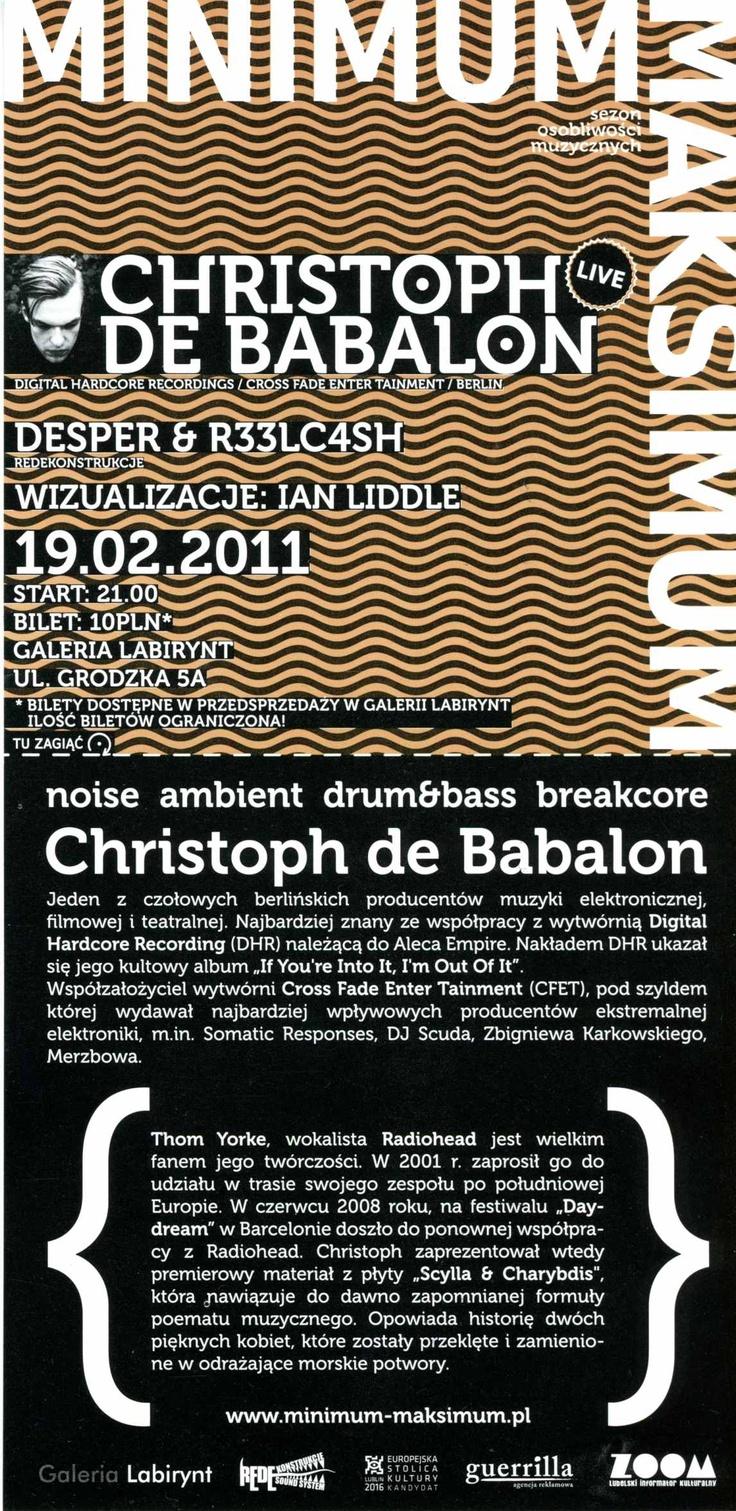 MINIMUM MAKSIMUM - Christoph de Babalon (concert)