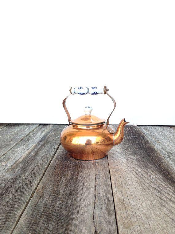 vintage 1960s Copper Tea Pot