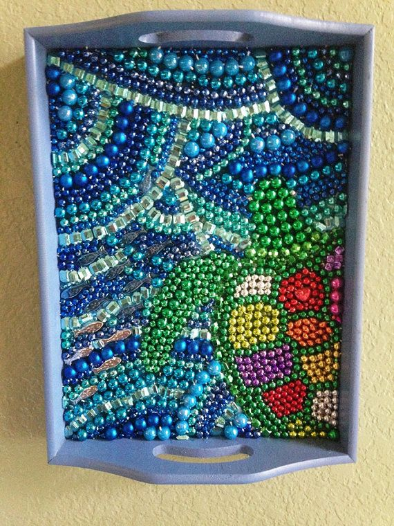 Mardi Gras Bead Art Sea Turtle by PoppyMagnolia on Etsy, $45.00