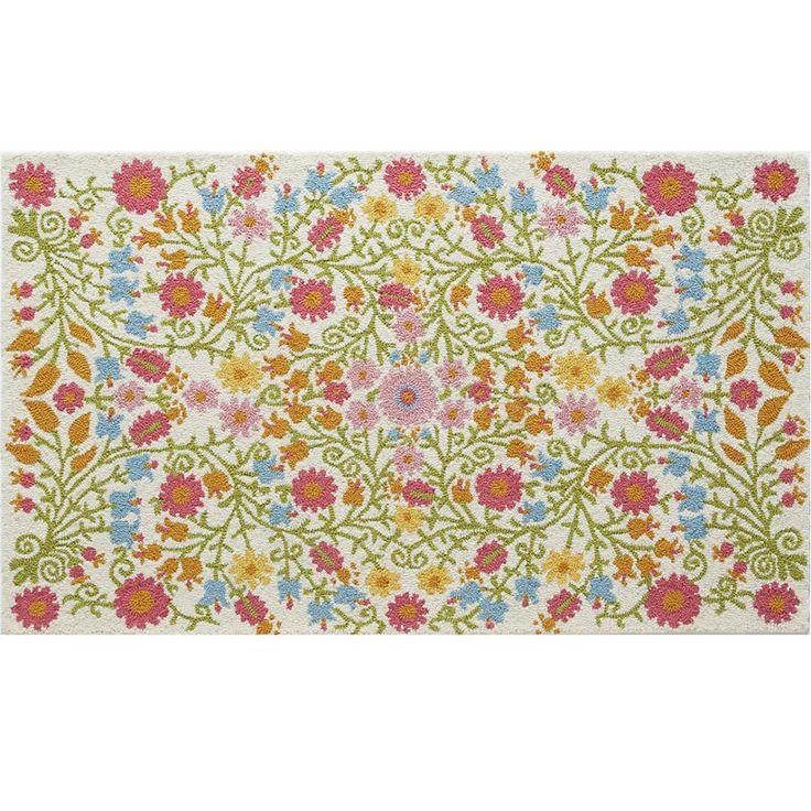 Girly Rugs For Bedroom: Kids' Rugs: Kids Cream Floral Garden Wool Rug