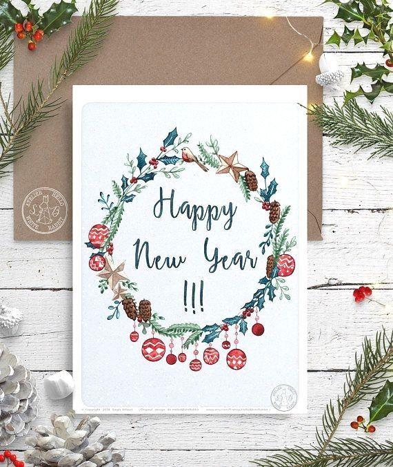 Carte De Voeux Happy New Year Meilleurs Voeux Illustration