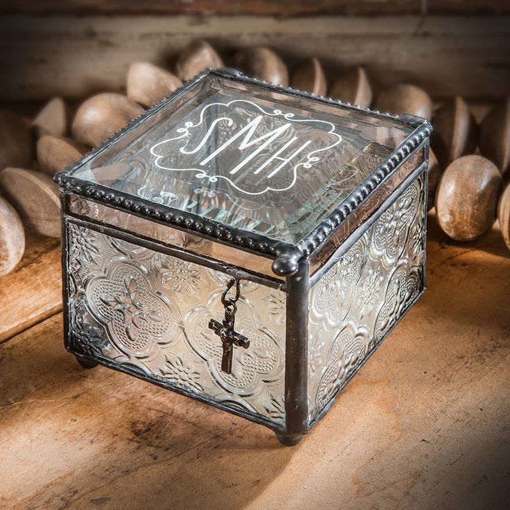 48 best personalized glass gifts and decor at uncharted for Jewelry box with initials