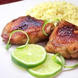 Key West Chicken Allrecipes.com, double marinade but not soy; use juice of 1-2 limes instead; marinade overnight best