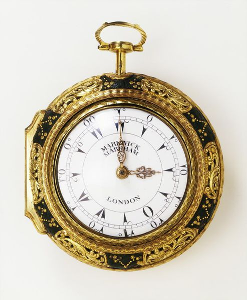 Watch  with quarter-repeating movement, verge escapement and enamel dial; gilt-metal cases, the outer case embossed, chased and decorated with gold piqué work on leather | Markwick & Markham | 1750-1775  V&A