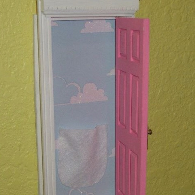 Tooth fairy door made from dollhouse door sold at hobby for Fairy door for wall