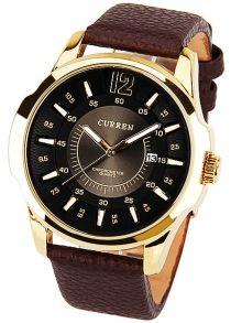 Curren 8123C Relógio de Quartzo para Homen com Mostrador Redondo Pulseira de Couro