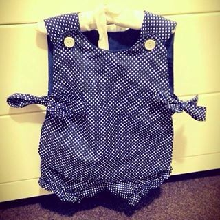 Beautiful blue and white polka dot bow top and bloomers made by Zaylie_Co
