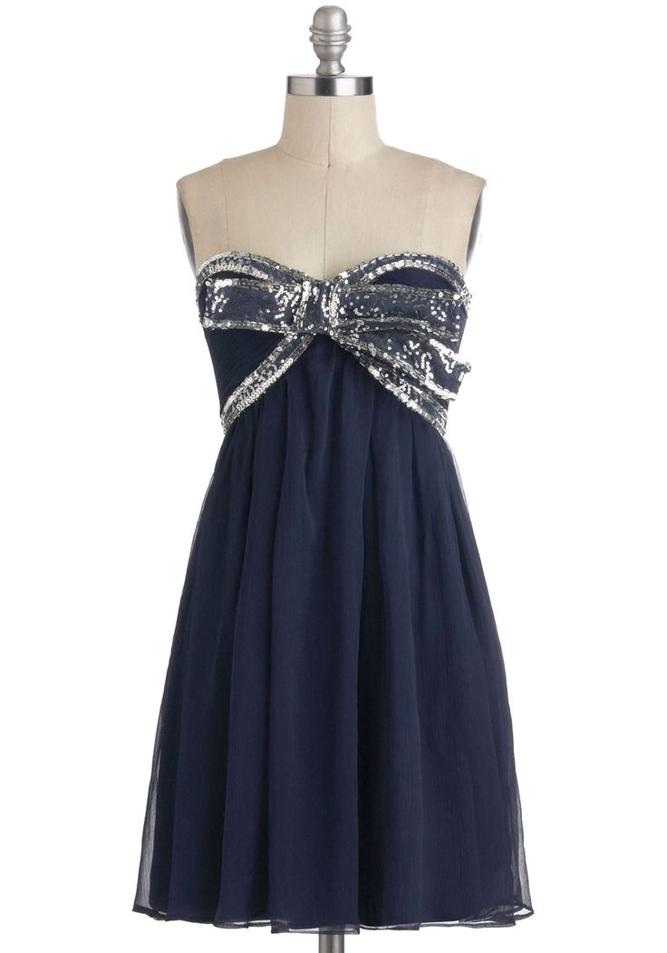 Elegance With a Sparkle Dress in Midnight - Short, Blue, Silver, Beads, Bows, Sequins, Party, Empire, Strapless, Sweetheart, Holiday Party