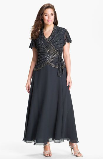 Free shipping and returns on J Kara Mock Two Piece Gown (Plus) at Nordstrom.com. An artfully beaded faux-wrap bodice ties at the side of an elegant steely grey gown topped with flutter sleeves.
