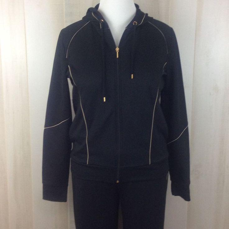 Jones New York Signature Spa Black 2-pc Hooded Zipper Track Suit Outfit Size L #JonesNewYork #TrackSweatSuits
