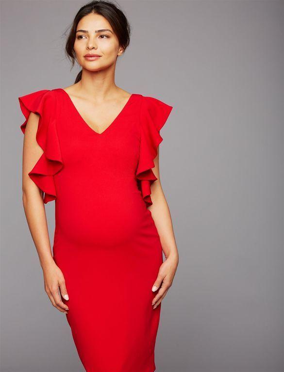 Laundry Ruffled Maternity Dress, Red | Ropa para embarazadas