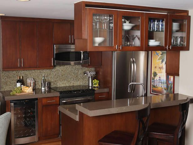 """- Small Kitchen Design Ideas and Inspiration on HGTV-This would be my idea for a good layout for an """"apt"""" kitchen if I move into an apt!"""