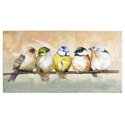 Hand-painted on pine, a group of plump and colorful birds gather on a branch to discuss neighborhood news and all that's atwitter. So what's the daily feed? That's anyone's guess, but one thing is for sure: This charming piece will have people talking.