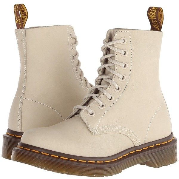 Dr. Martens Pascal 8-Eye Boot Lace-up Boots ($135) ❤ liked on Polyvore featuring shoes, boots, ankle booties, ankle boots, lace up bootie, lace up ankle boots, dr martens boots, lace up platform bootie and white boots