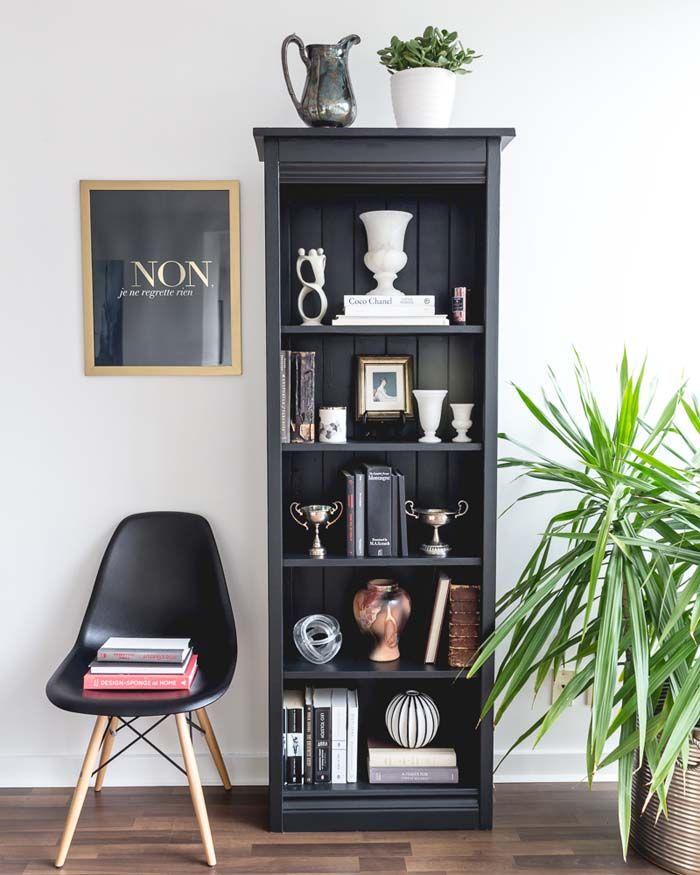 Style a Moody, Black & White Bookcase | Poppytalk
