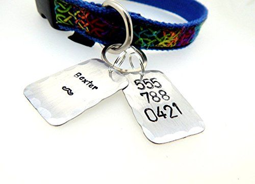 The Baxter Tag - Custom Hand Stamped Aluminum Keychain - Perfect For Any Size Dog. Welcome to the Baxter Tag! This beautiful dog tag is made of two pieces of aluminum that are 1'' wide and 1.25'' tall, so it is good for drawing attention to your animal, but not too large to be bulky. It can be customized on the front with your pets name, and on the back it holds your phone number. It is made from 20 gauge aluminum and is not easily manipulated.